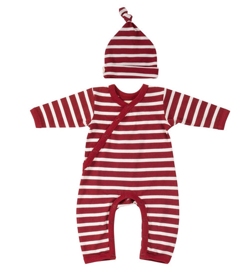 Red Breton Stripe Romper & Knotted Hat - Organic Cotton Gift Set