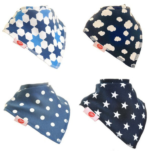 Zippy Baby Boys Bandana Dribble Bib 4 pack Just Blues