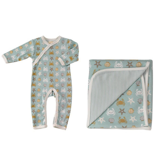 Seaside print Organic Cotton Romper & Blanket Gift Set