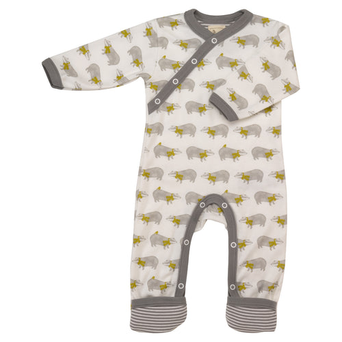 Badger Ditsy Taupe Babygrow