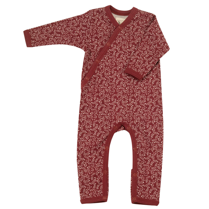 Organic Cotton Leaf Print Red Romper