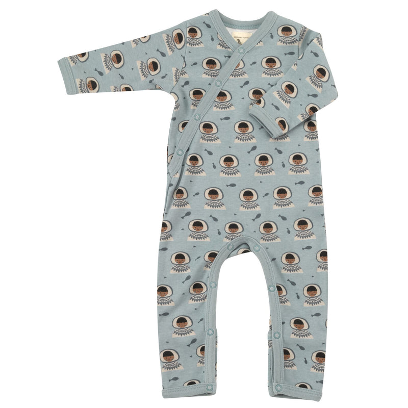Organic Cotton Inuit Print Blue Romper