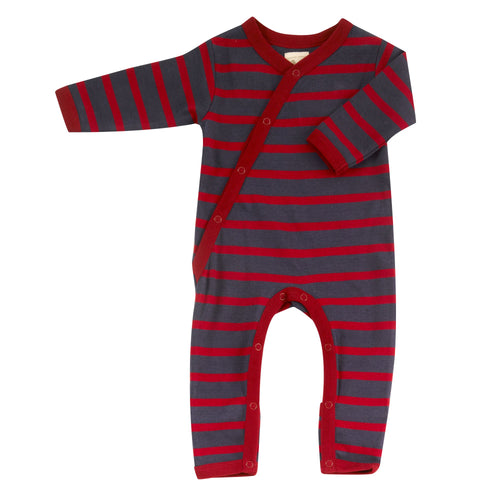 Organic Cotton Navy Red Stripe Romper