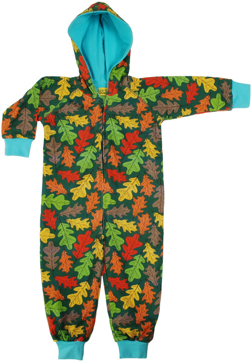 DUNS Oak Leaf Print Organic Cotton Lined Zip Sleepsuit with Hood