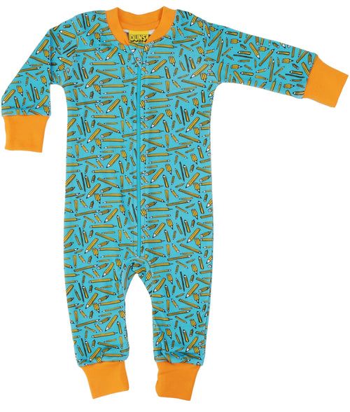 DUNS Pencils Print Organic Cotton Turquoise Zip Suit