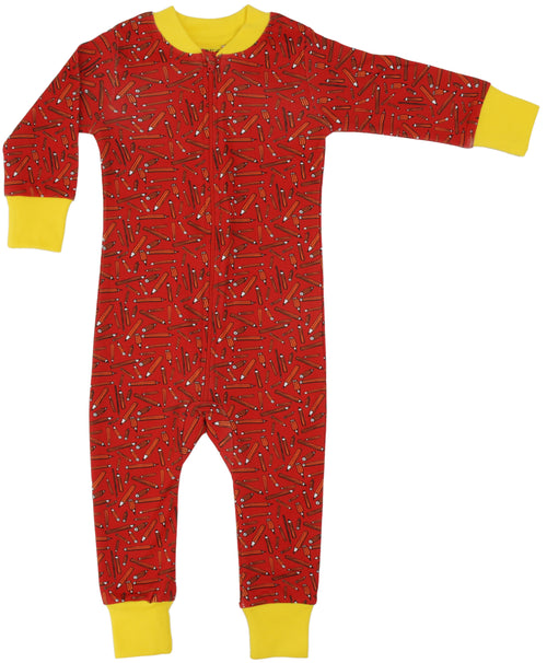 DUNS Pencil Print Organic Cotton Zip Sleepsuit