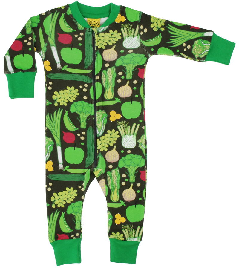 DUNS Eat Your Greens Organic Cotton Zip Sleepsuit