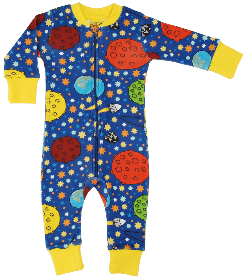 DUNS Lost in Space Navy Organic Cotton Zip Sleepsuit