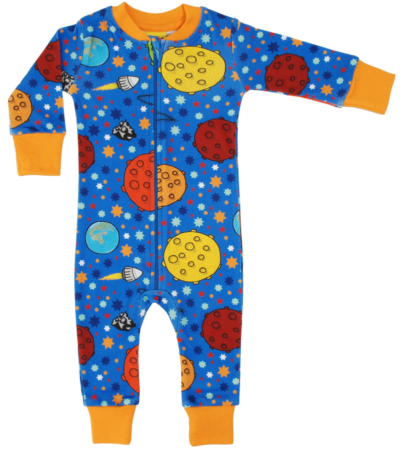 DUNS Lost in Space Blue Organic Cotton Zip Sleepsuit