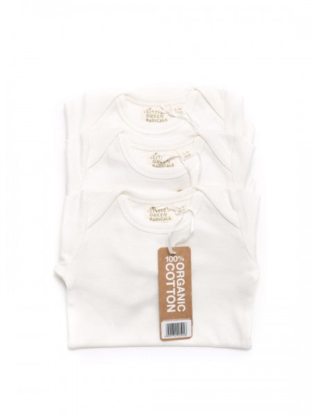 White Organic Cotton Short Sleeve 3 pack Bodysuits Vests