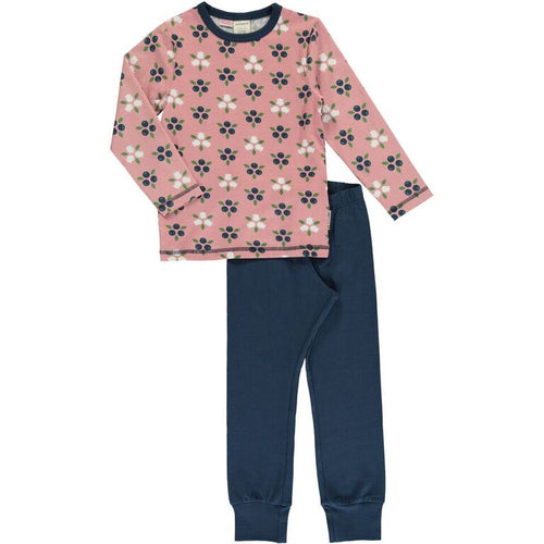 Maxomorra Blueberry Blossom Print Long Sleeve Pyjamas Set
