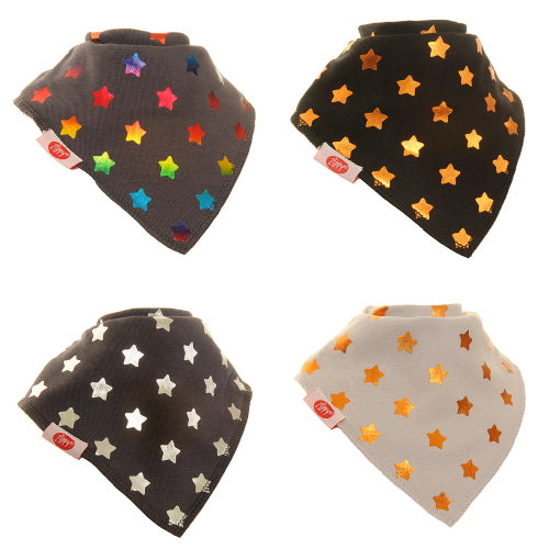 Zippy Baby Metallic Stars Bandana Dribble Bib 4 pack