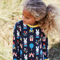 Maxomorra Fun Park Print Long Sleeve Zip Rompersuit