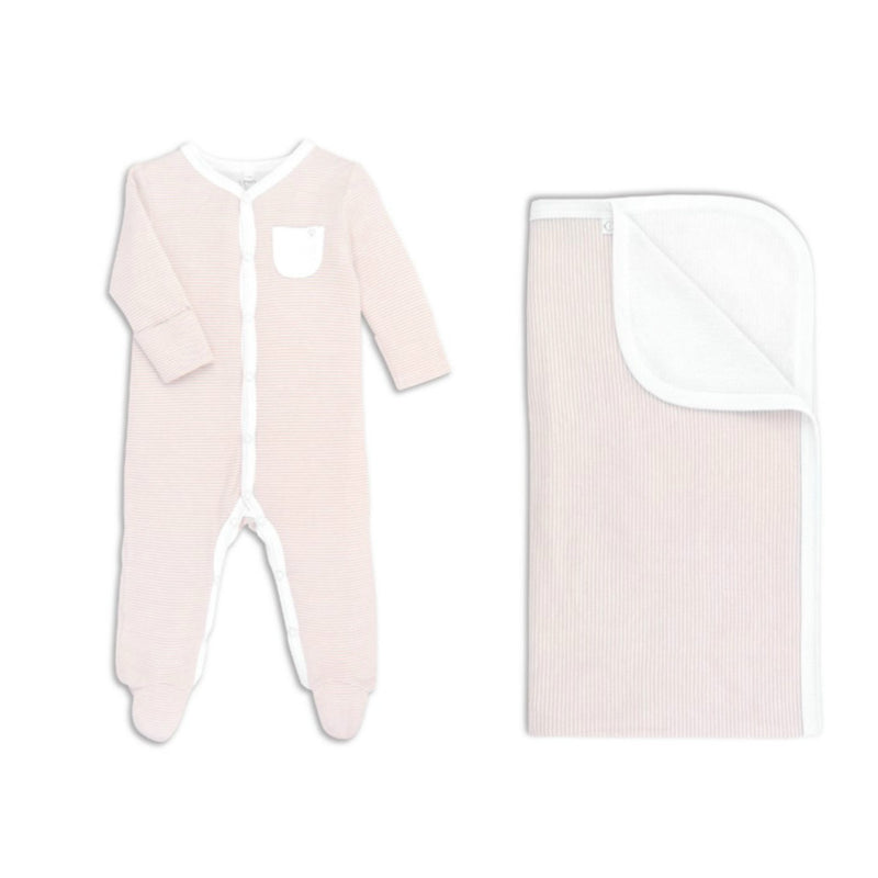Pink Striped Babygrow & Blanket - Gift Set for Baby Girls