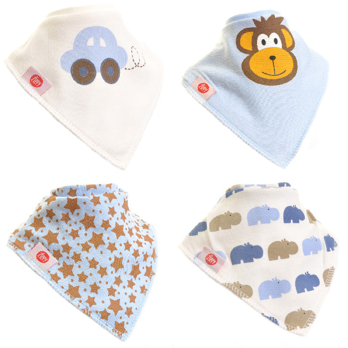 Ziggle Bandana Dribble Bib 4 pack Cute Blues