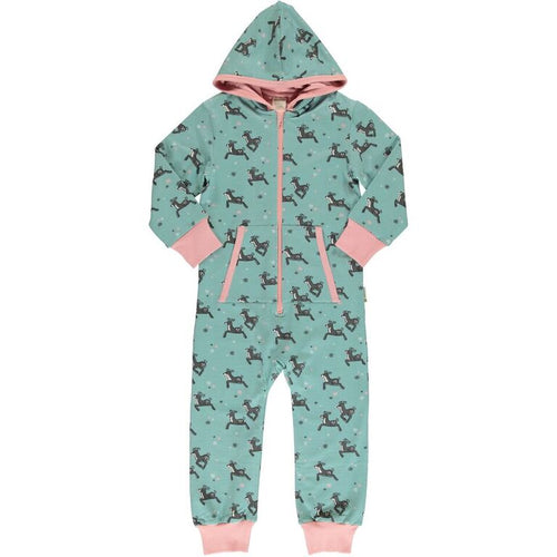 Maxomorra Dashing Raindeer Print Hooded Onesie