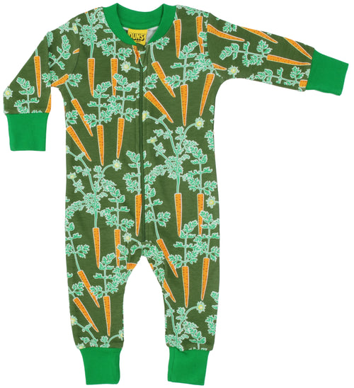 DUNS Carrots print Organic Cotton Zip Sleepsuit