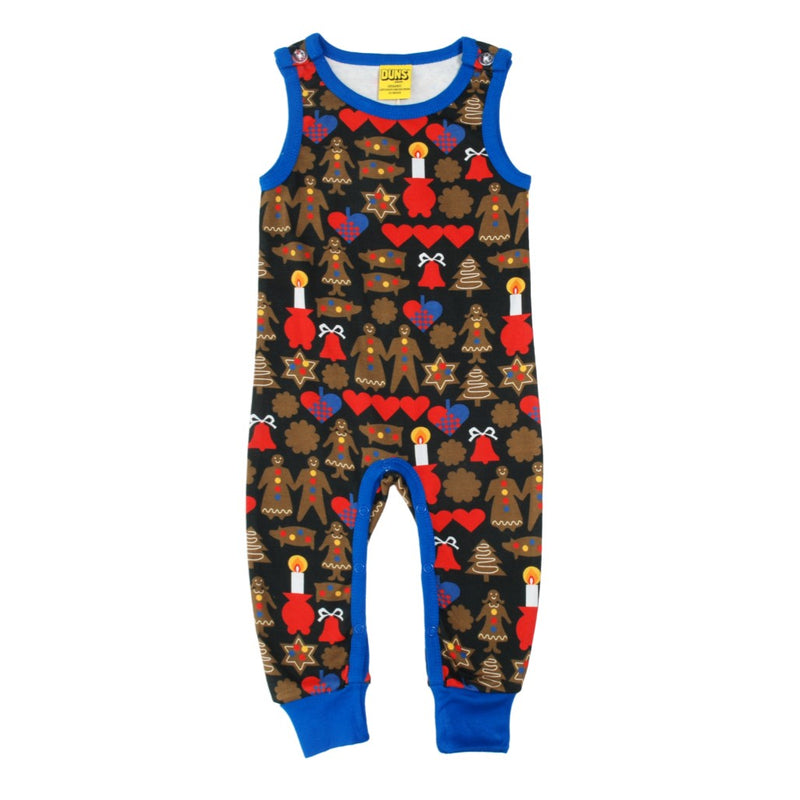DUNS Gingerbread Print Black Organic Cotton Dungarees