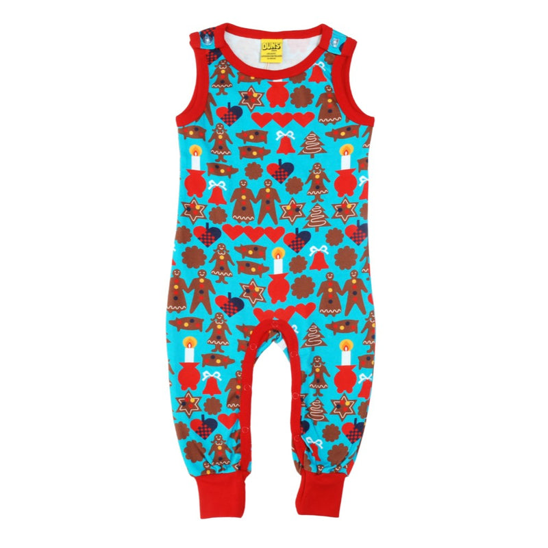 DUNS Gingerbread Print Turquoise Organic Cotton Dungarees