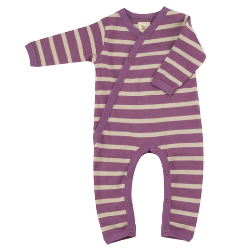 Organic Cotton Purple Breton Stripe Romper