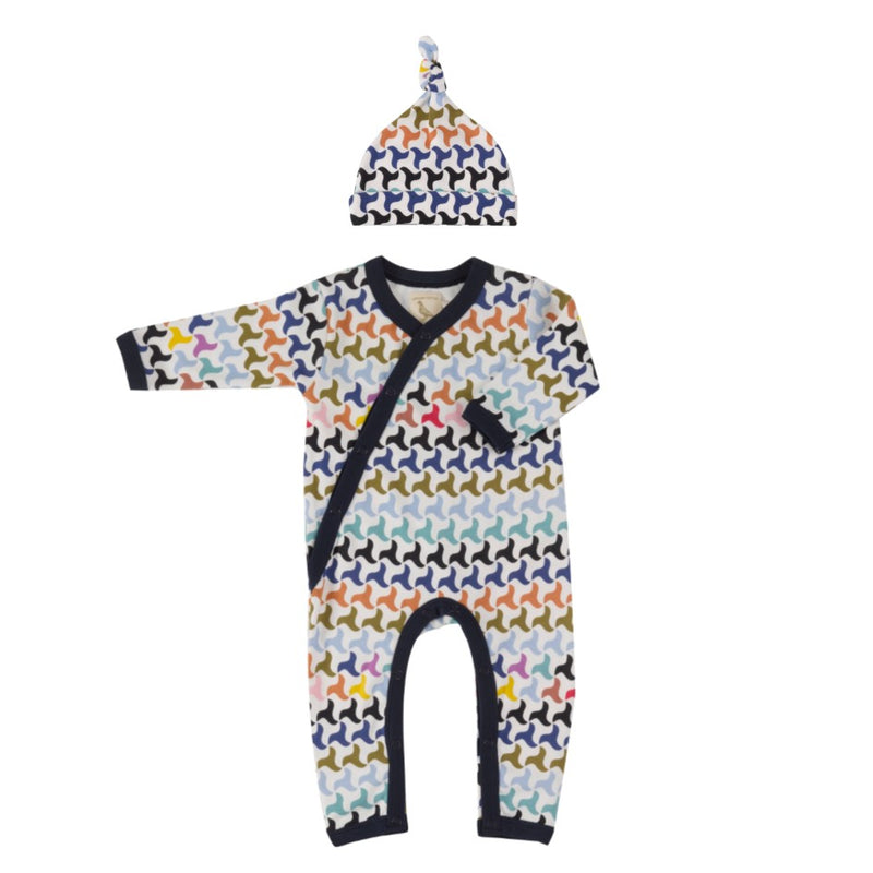 Organic Cotton Colourful Swirl Print Romper & Knotted Hat Gift Set