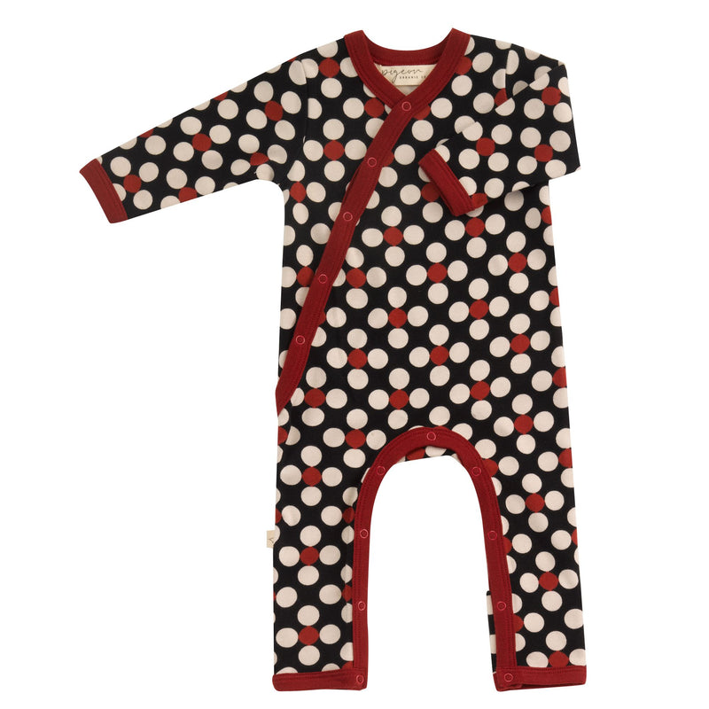 Organic Cotton Dotty Print Black Romper