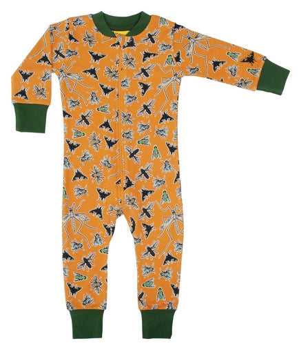 Duns Fly Print Orange Organic Cotton Zip Sleepsuit