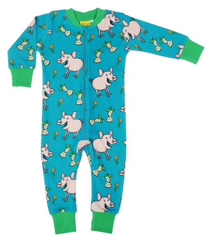 DUNS Chipmunk Print Teal Organic Cotton Zip Sleepsuit