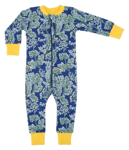 DUNS Dill Print Blue Organic Cotton Zip Sleepsuit