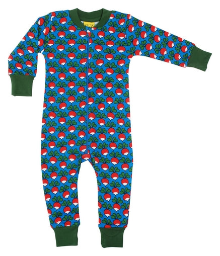 DUNS Radish Print Blue Organic Cotton Zip Sleepsuit