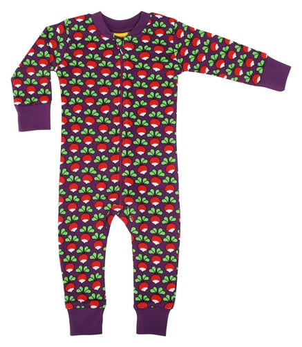 Duns Radish Print Purple Organic Cotton Zip Sleepsuit