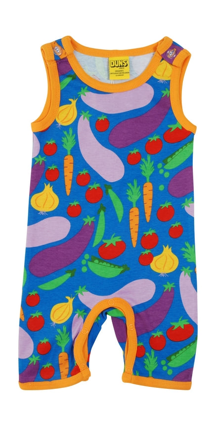 DUNS Vegetable Print Organic Cotton Blue Summer Dungaree