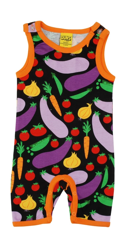 DUNS Vegetable Print Organic Cotton Black Summer Dungaree