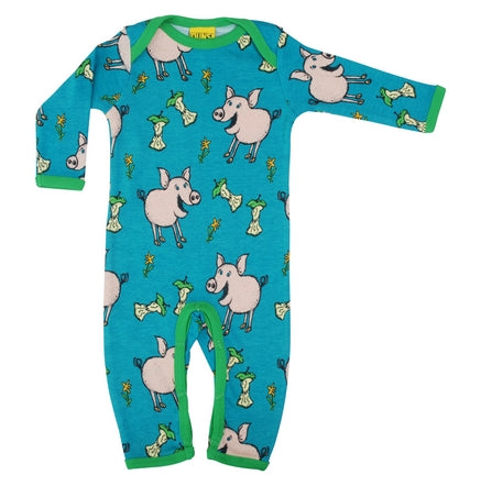 DUNS Pig Print Teal Organic Cotton Lap neck Sleepsuit