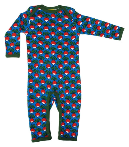 DUNS Radish Print Blue Organic Cotton Lap neck Sleepsuit