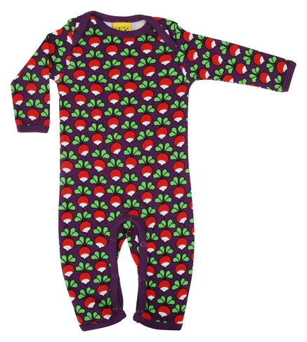 DUNS Radish Print Purple Organic Cotton Lap neck Sleepsuit