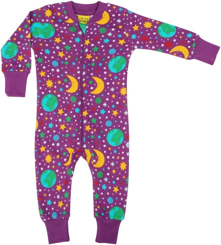 DUNS Mother Earth Print Violet Organic Cotton Zip Sleepsuit