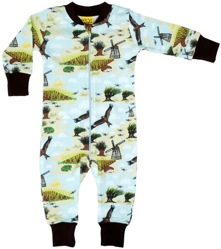Sweden Countryside Landscape Windmill Organic Cotton Zip Sleepsuit