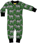 Green Zebra Print Organic Cotton Zip Sleepsuit