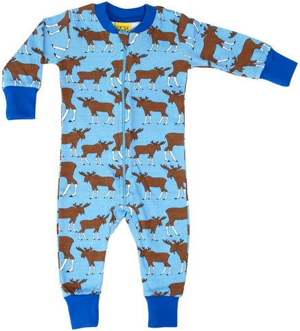 DUNS Blue Moose Print Organic Cotton Zip Sleepsuit