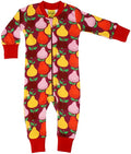 Summer Fruits Mandarin and Boysenberry Red Organic Cotton Zip Sleepsuit
