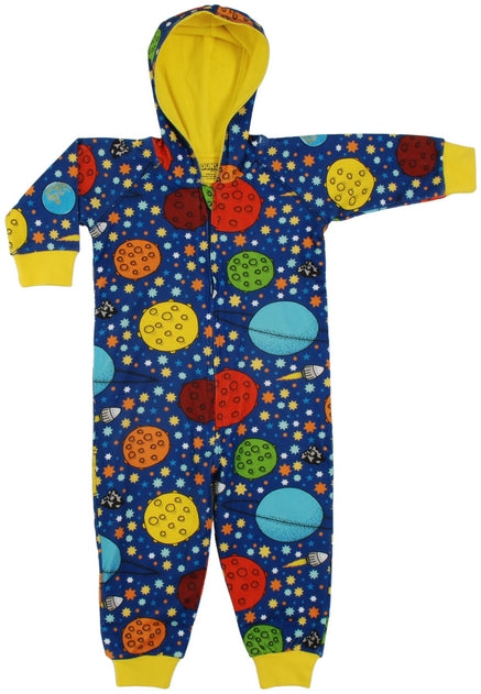 DUNS Lost in Space Print Organic Cotton Lined Navy Zip Sleepsuit with Hood
