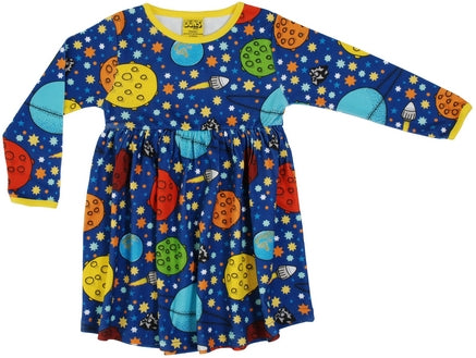 DUNS Lost in Space Print Organic Cotton Long Sleeve Gather Dress