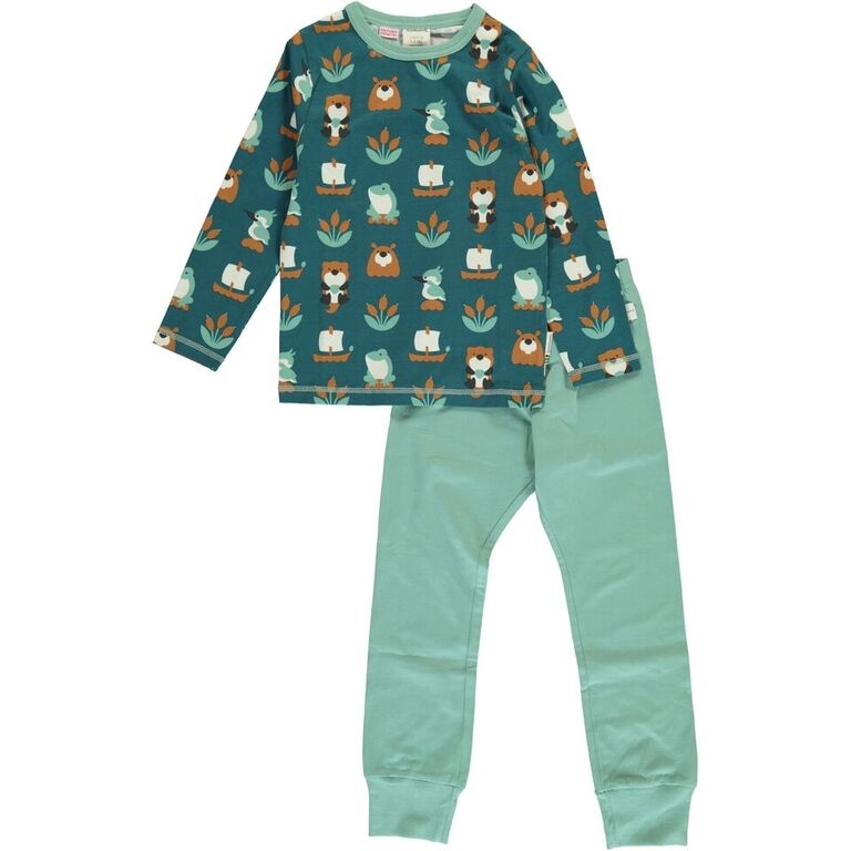 Maxomorra Lake Life Print Long Sleeve Pyjamas Set
