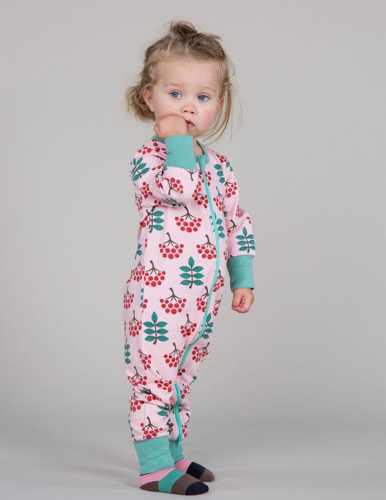 Maxomorra Ruby Rowanberry Print Long Sleeve Zip Rompersuit
