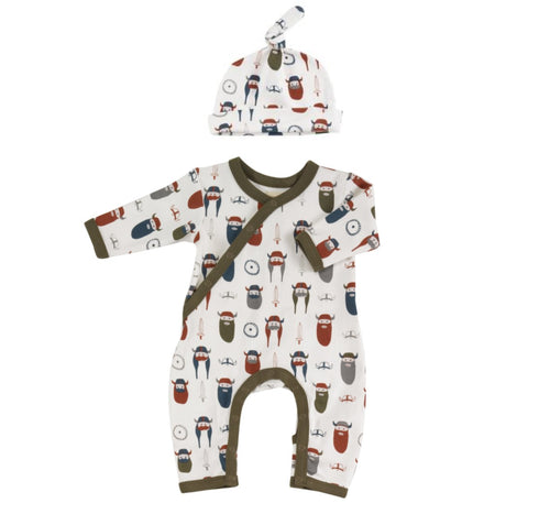 Organic Cotton Viking Print Romper and Knotted Hat Gift Set