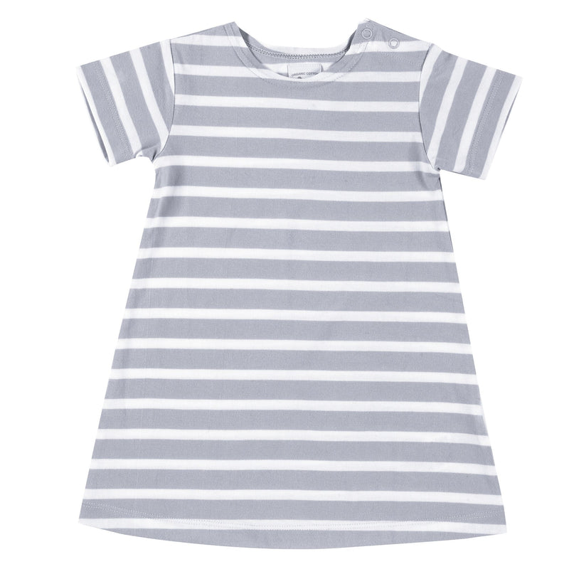 Organic Cotton Pale Blue Short Sleeve Breton Dress