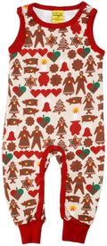 DUNS Gingerbread Print Cream Organic Cotton Dungarees
