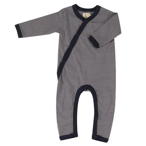 Organic Cotton Navy Fine Stripe Romper