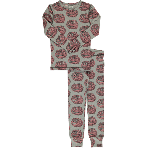 Maxomorra Rose Print Long Sleeve Pyjamas Set Slim Fit